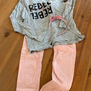 Cute Ensemble Pink Jeans Size 12 Tees Size 14-16